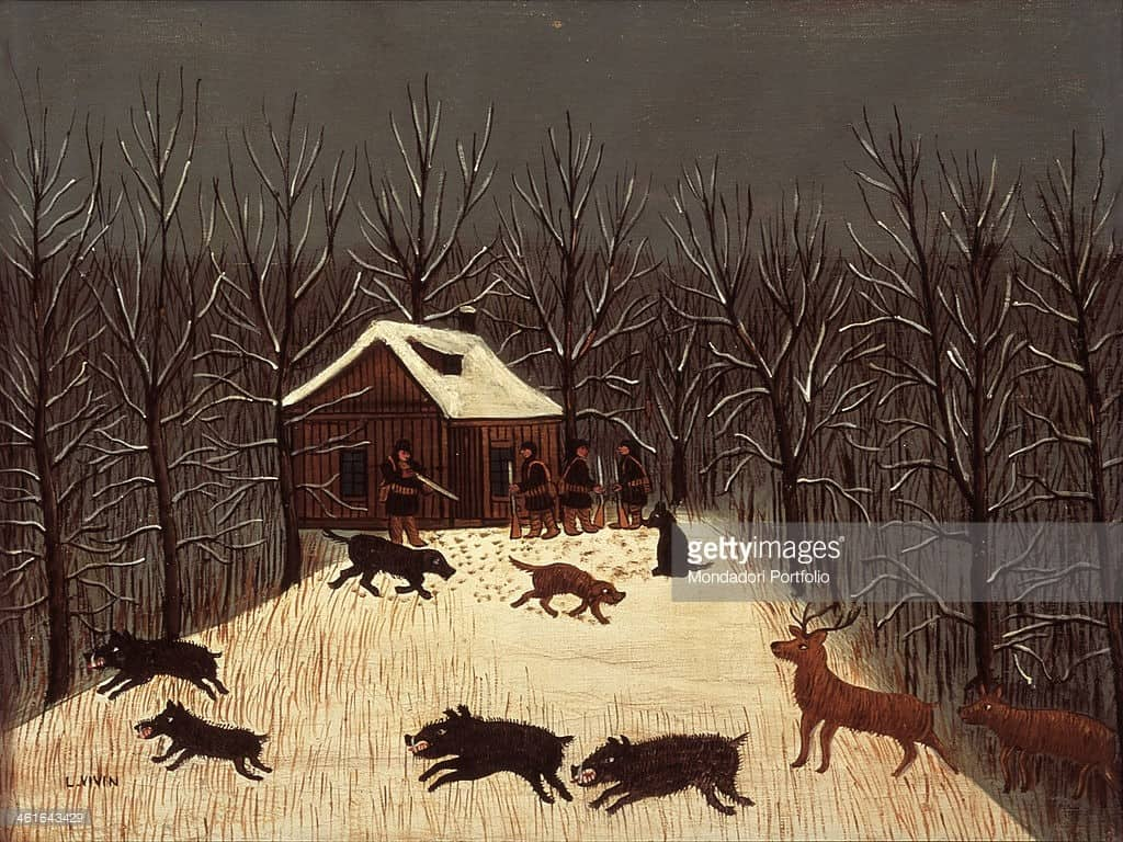France, Nizza, International Museum of Naif Art Anatole Jakovsky. Whole artwork view. Snowy winter landscape, with bare trees surrounding a small wooden house. In front of it four men, armed with rifles, and three dogs are intent on hunting wild boar and deer.